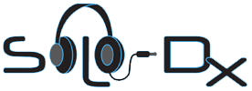 """The Solo-Dx logo: The name Solo-Dx. The two O's are represented by a pair of over-ear headphones that connect over the L, which is shaped like a nose. The cord of the headphones is plugged into the D in """"Dx""""."""